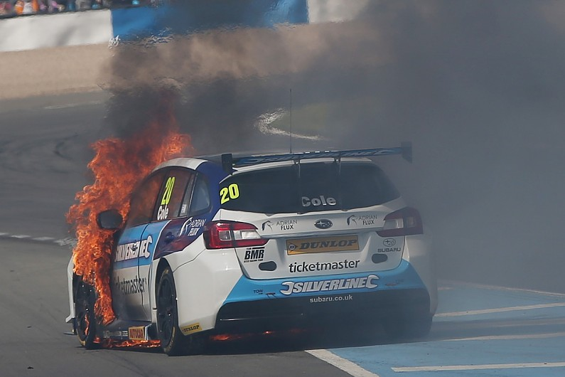 Subaru fire, btcc blog, motorsport blog